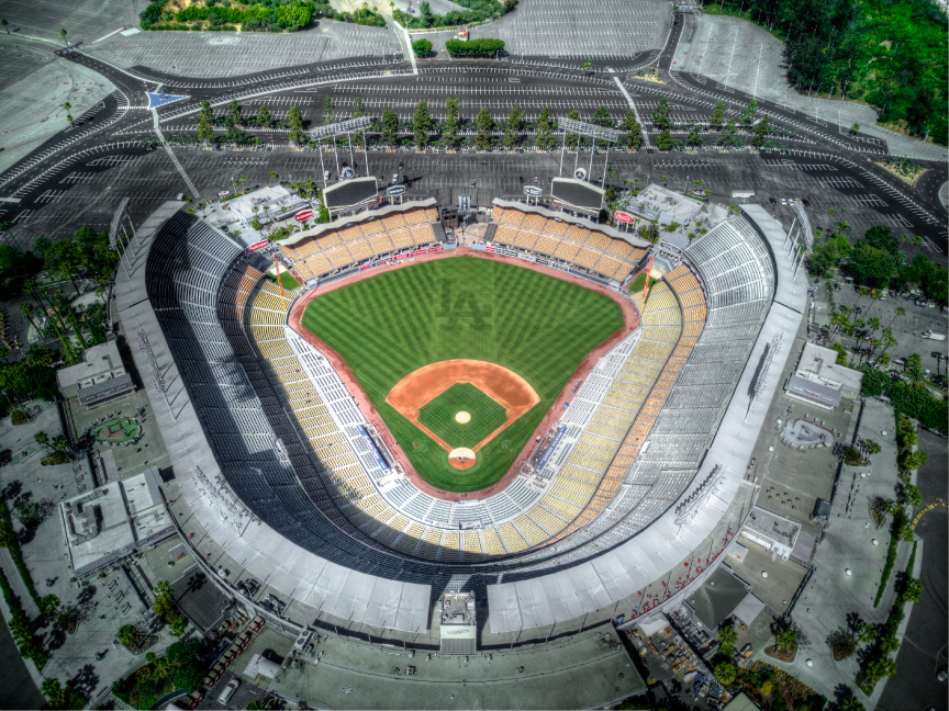 Los Angeles Aerial Image Dodger Stadium Architectural Photography